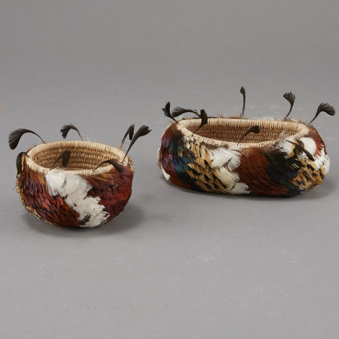 Group of 2 Feathered Pomo Baskets - 2