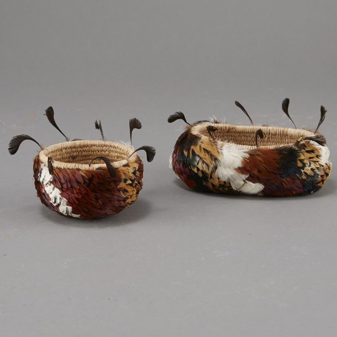 Group of 2 Feathered Pomo Baskets - 3