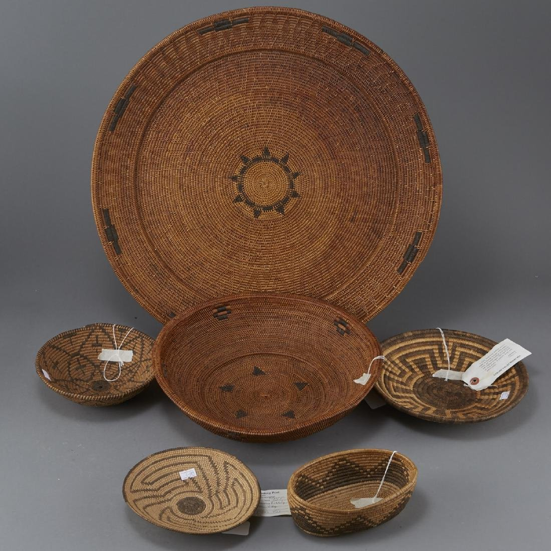 Group of 5 Pima Woven Baskets and Trays