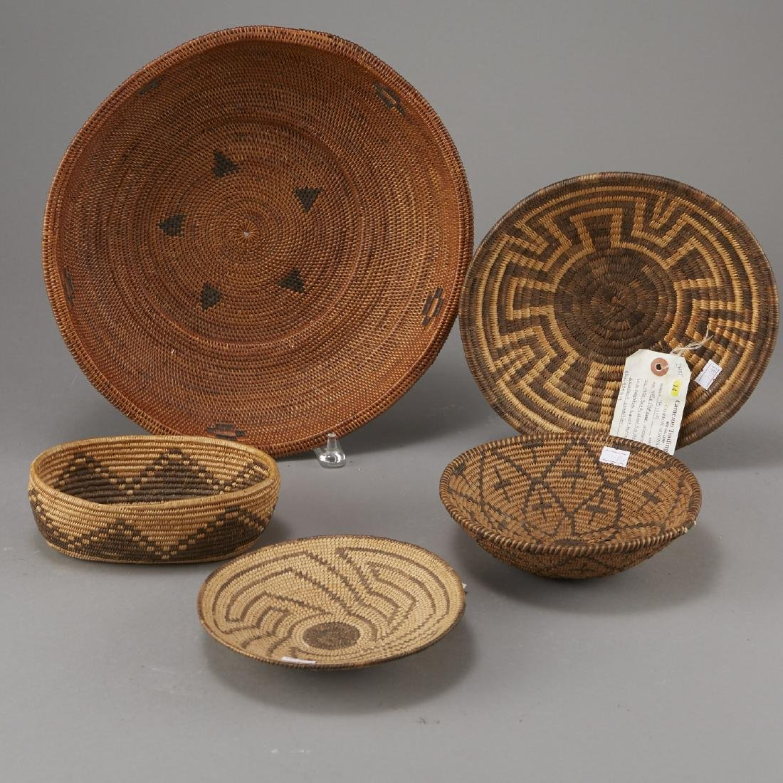 Group of 5 Pima Woven Baskets and Trays - 2