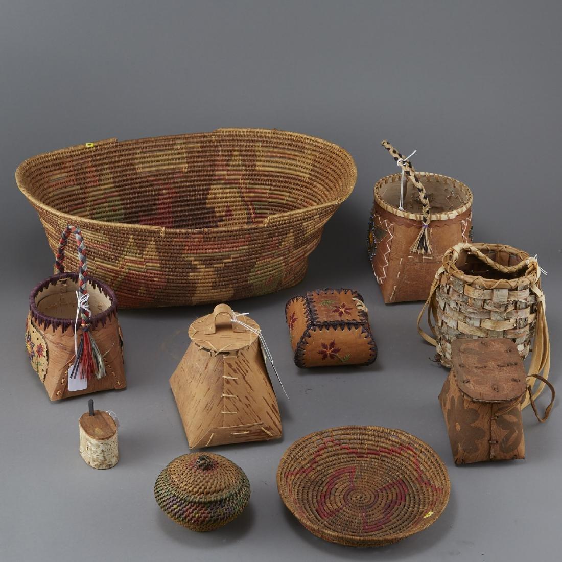Group of 10 Ojibwe Birchbark and Coiled Baskets