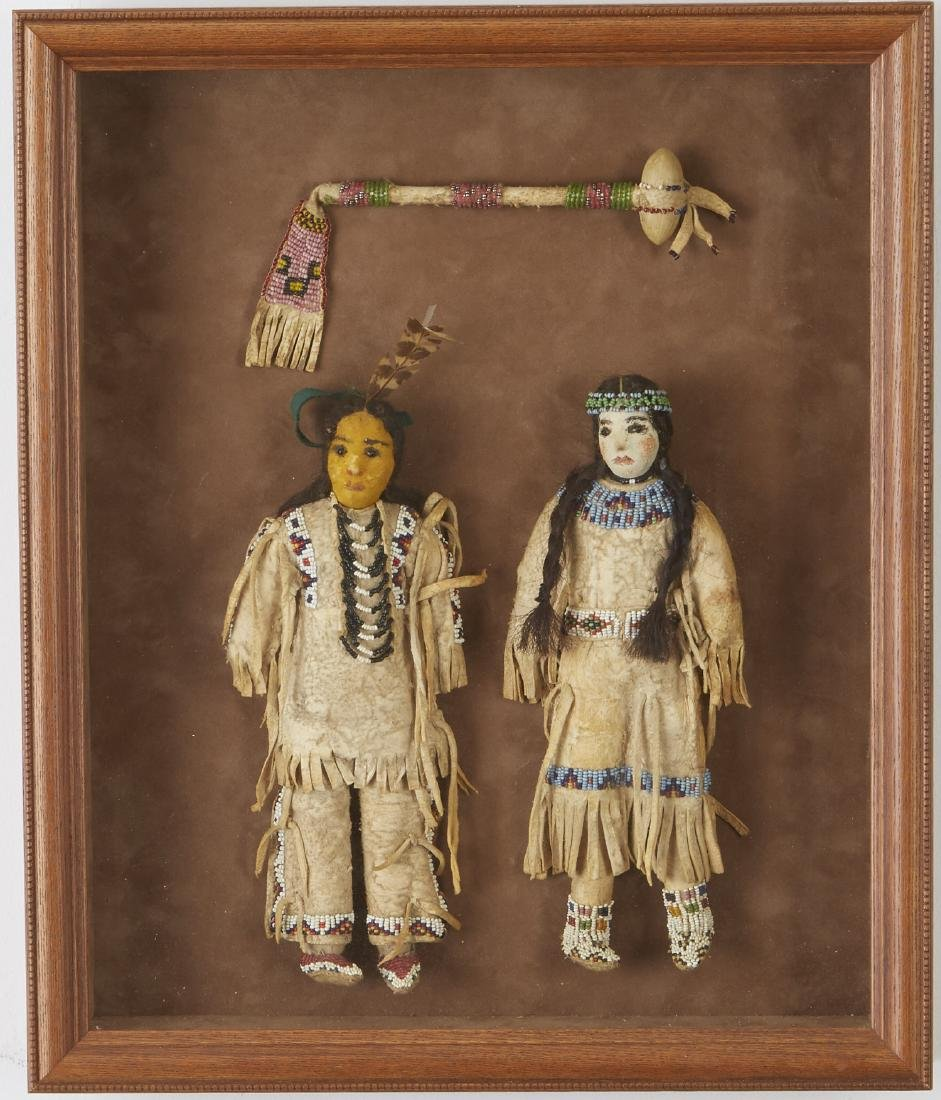 Pair of Beaded Sioux Dolls with Club Provenance - 2