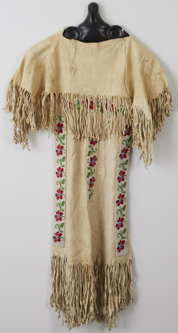 Northern Plains Beaded and Fringed Hide Dress