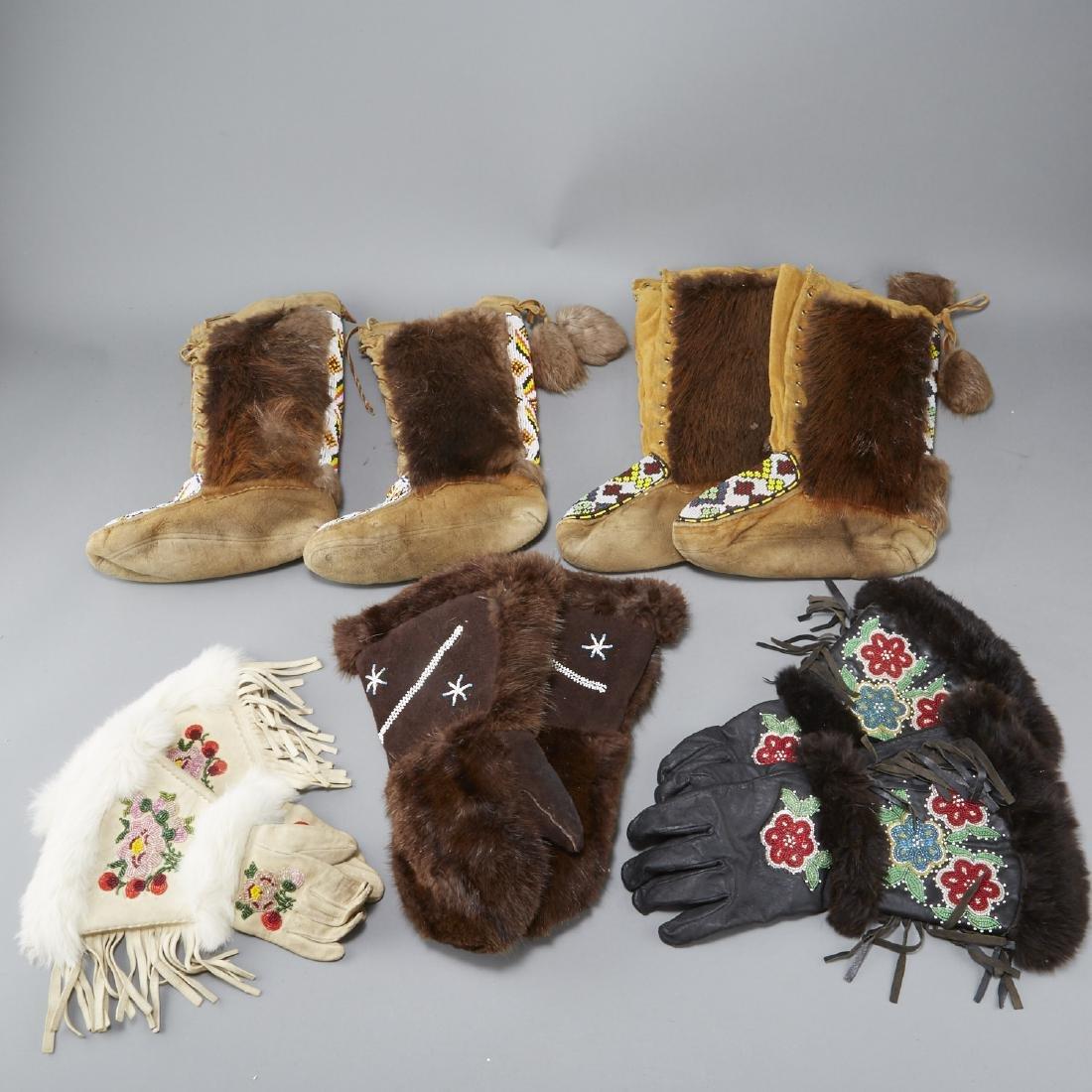 Group of 3 Pairs Gloves and 2 Pairs Mukluks