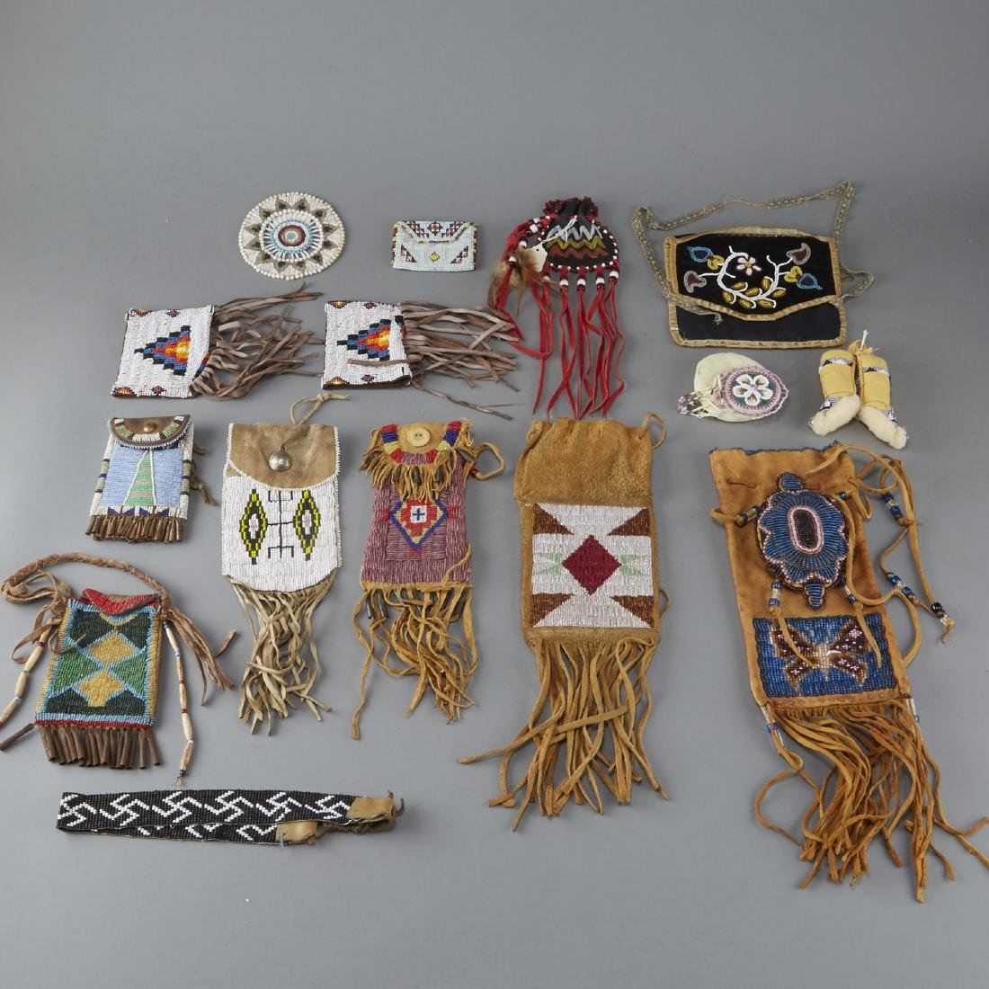 Group of 18 Native American Beaded Objects