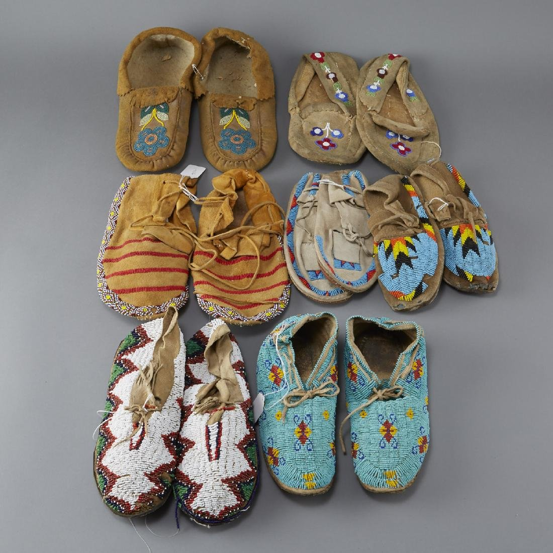 7 Pairs Beaded Moccasins