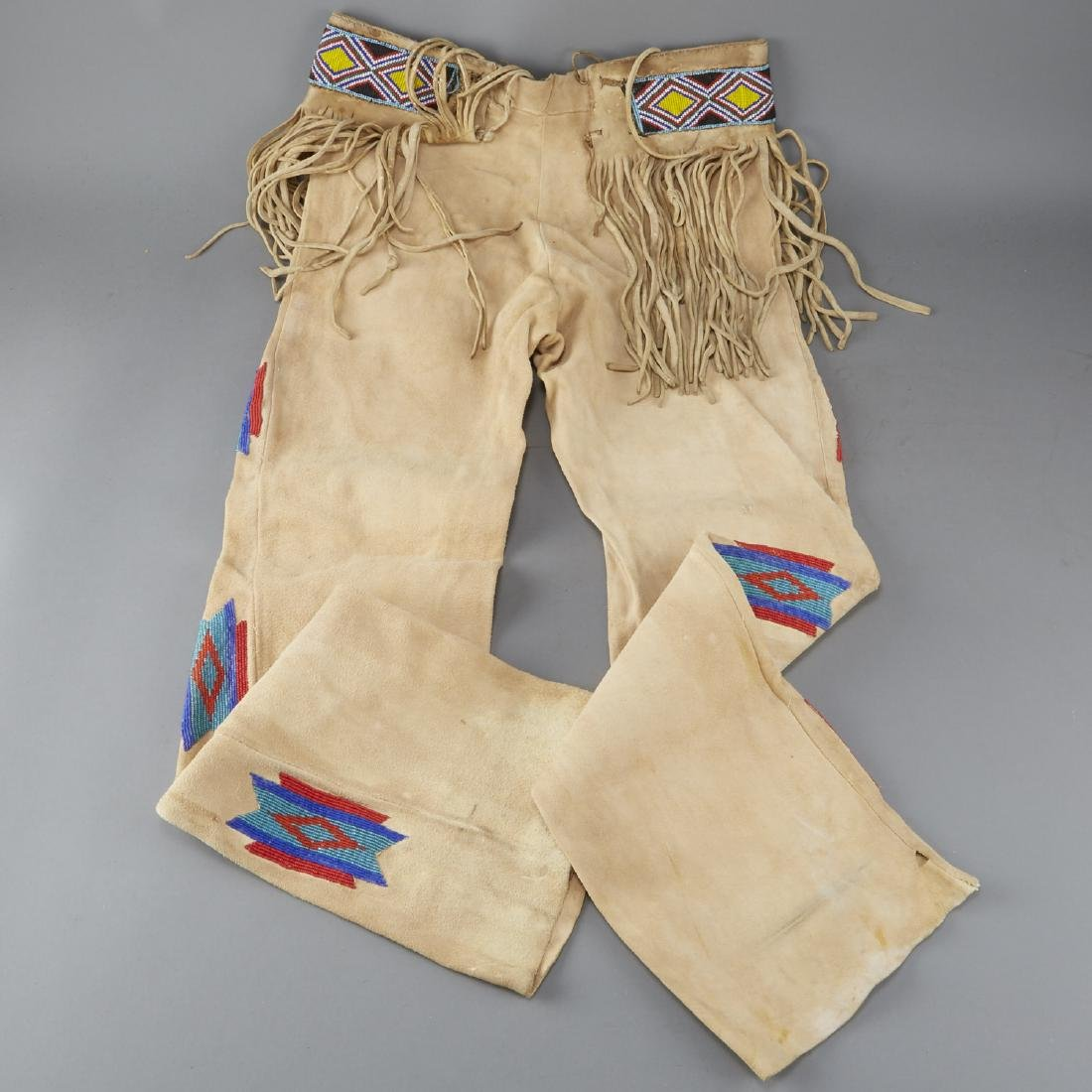 Native American Beaded Leather Pants - 5