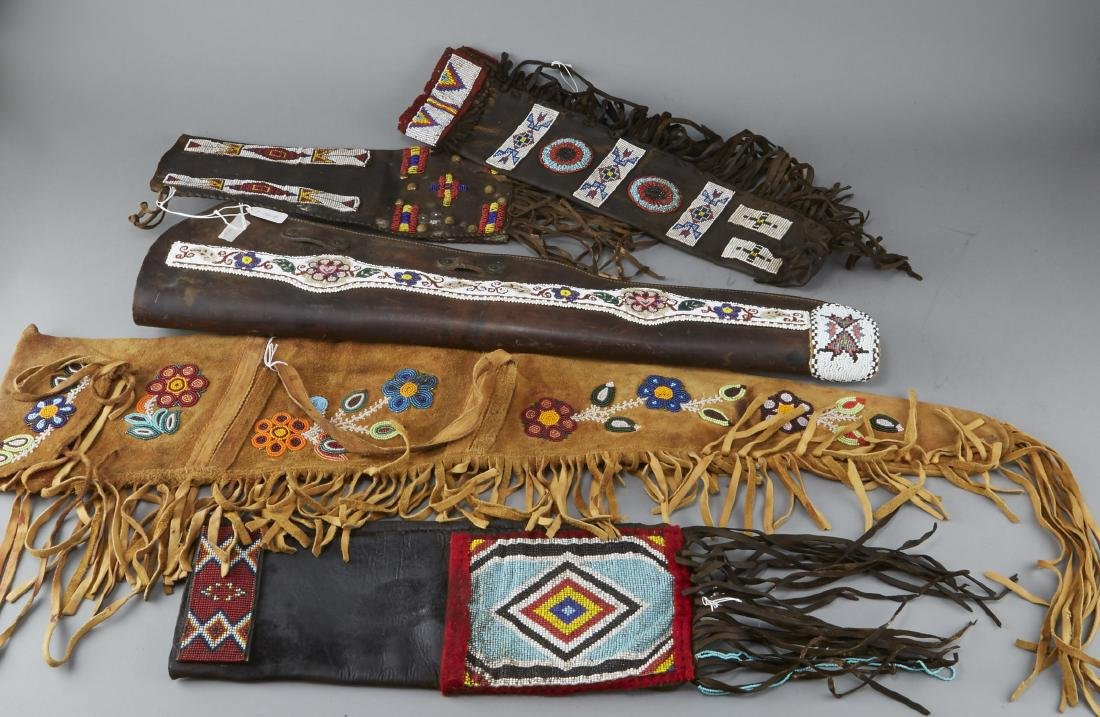 5 Native American Beaded Rifle Bags