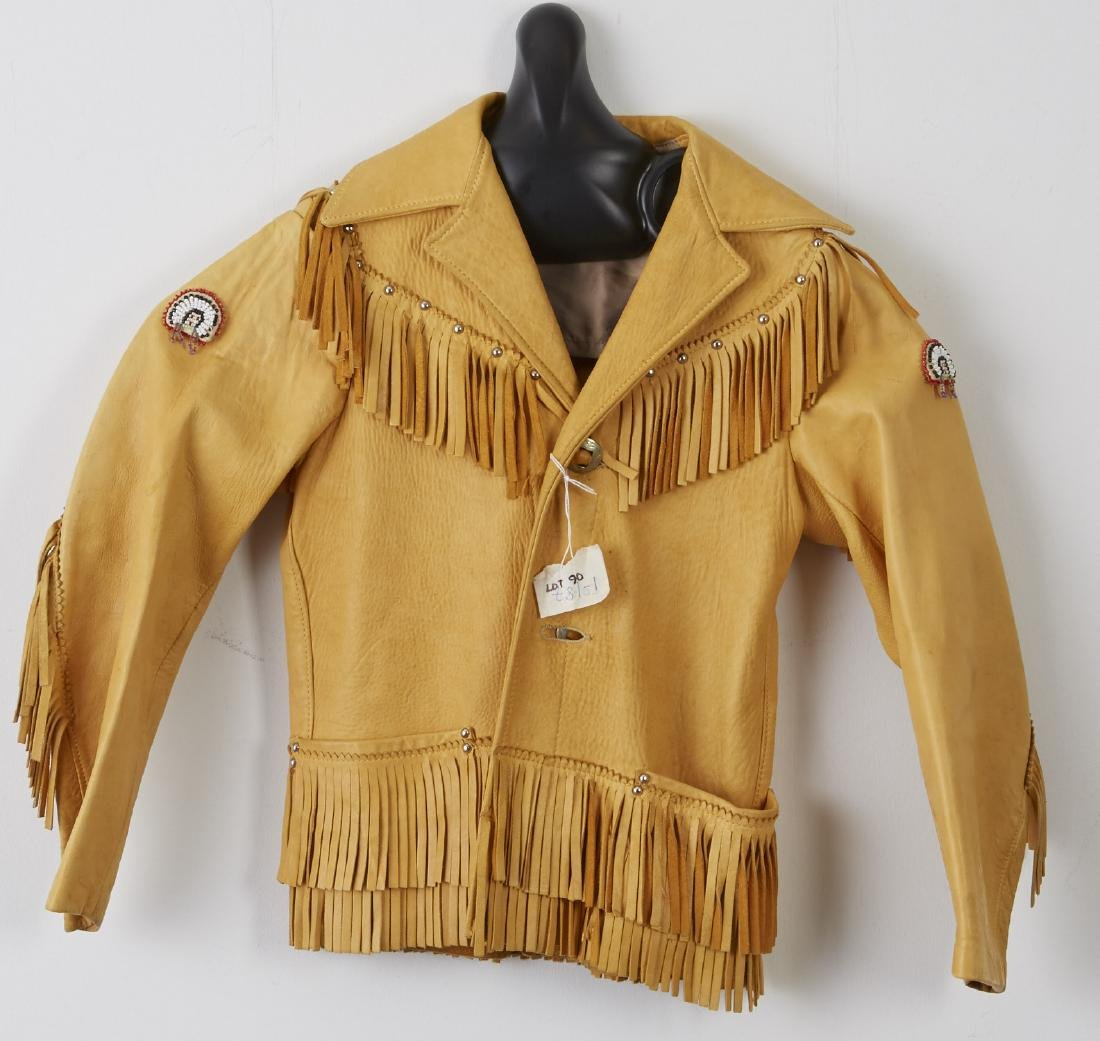 Children's Fringed Leather Jacket with Beadwork