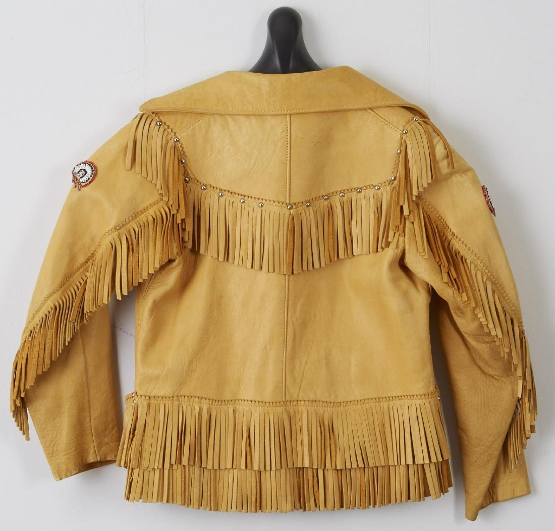 Children's Fringed Leather Jacket with Beadwork - 2