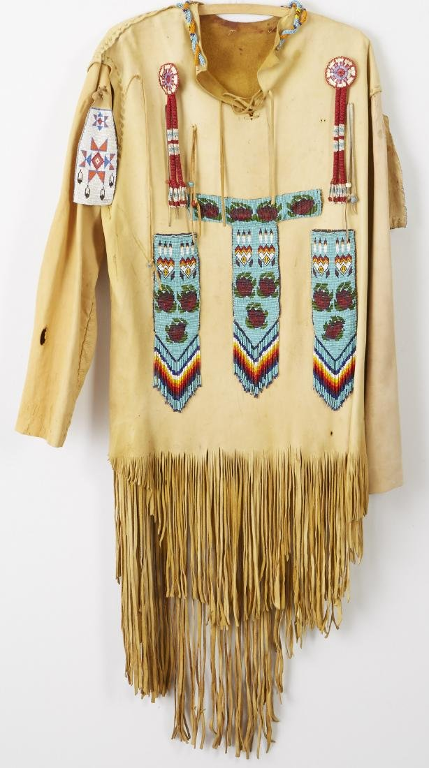 2 Native American Beaded and Fringed Leather Shirts