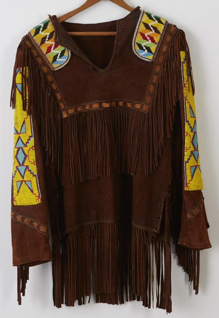 2 Native American Beaded and Fringed Leather Shirts - 8