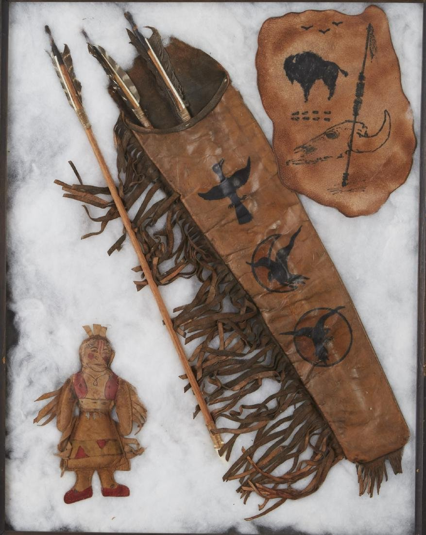 Plains Indian Quiver, Arrows, Hide, Doll