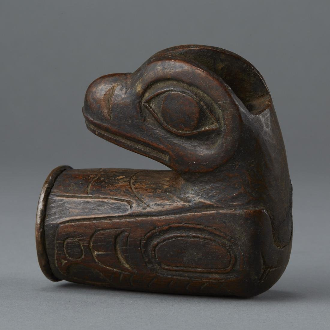Important Hand Carved Tlingit Wood Raven Pipe
