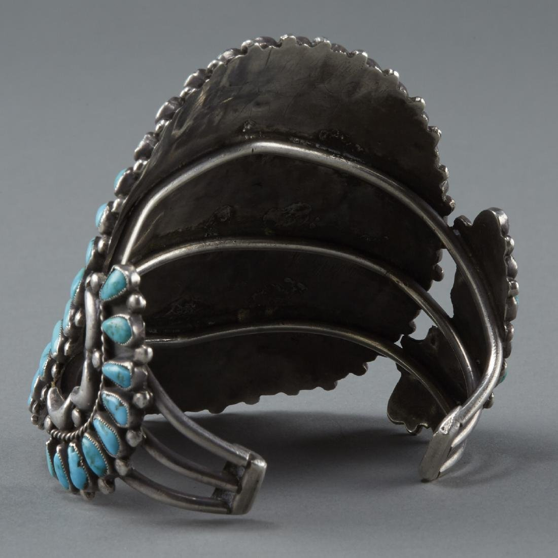Southwestern Silver and Turquoise Cuff Bracelet - 2