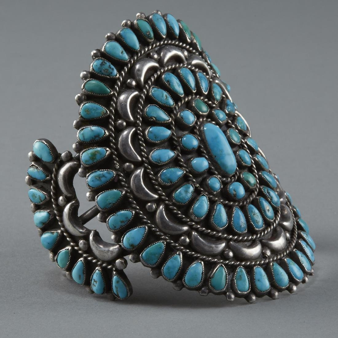 Southwestern Silver and Turquoise Cuff Bracelet - 3