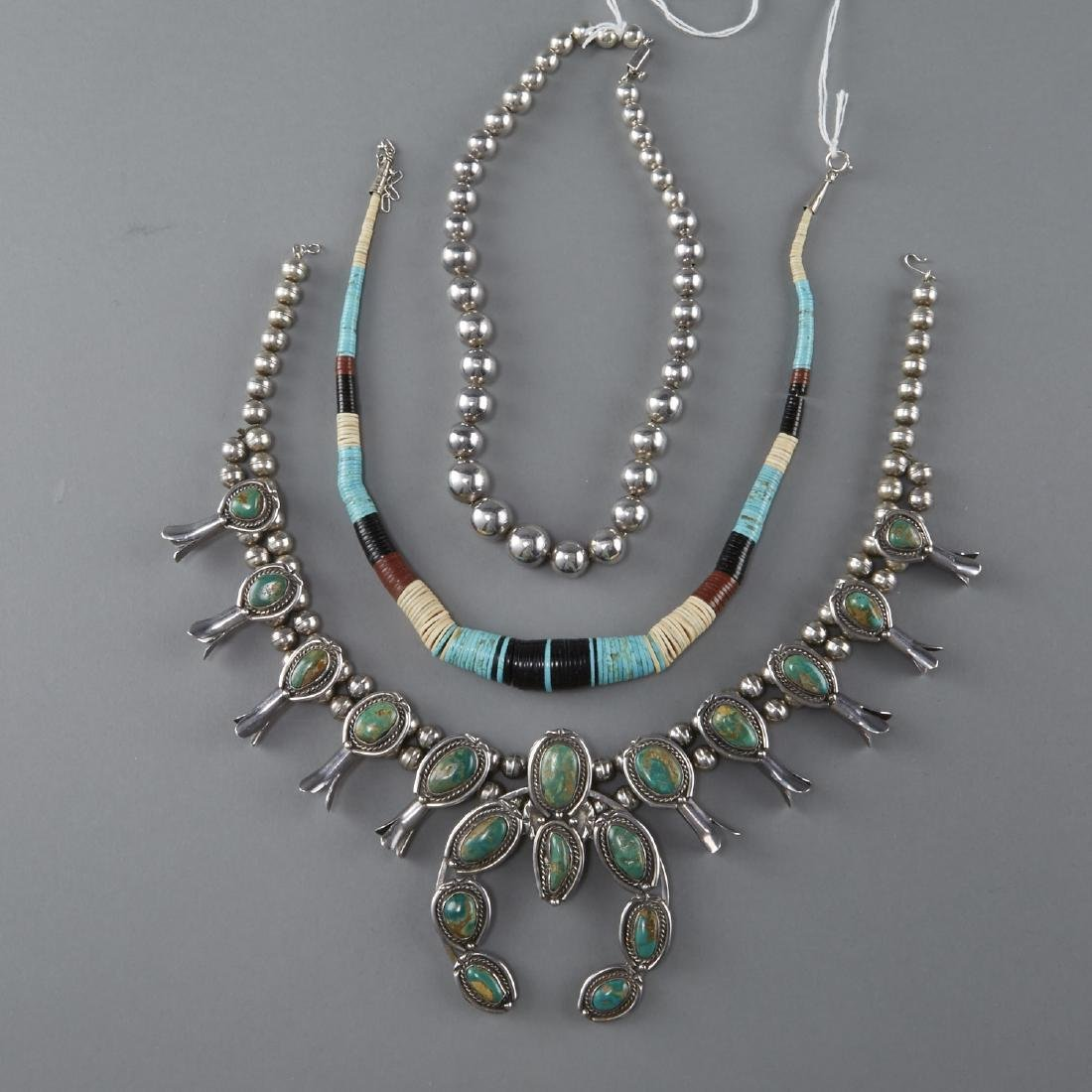 3 Necklaces Squash Blossom, Silver, Turquoise