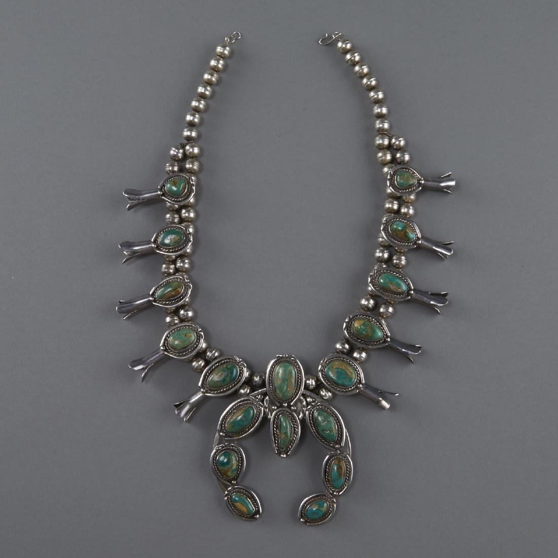 3 Necklaces Squash Blossom, Silver, Turquoise - 2