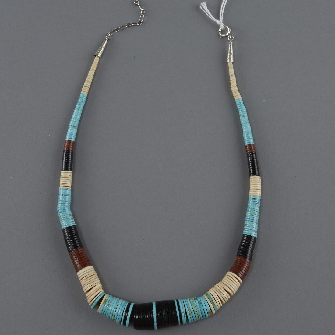 3 Necklaces Squash Blossom, Silver, Turquoise - 3