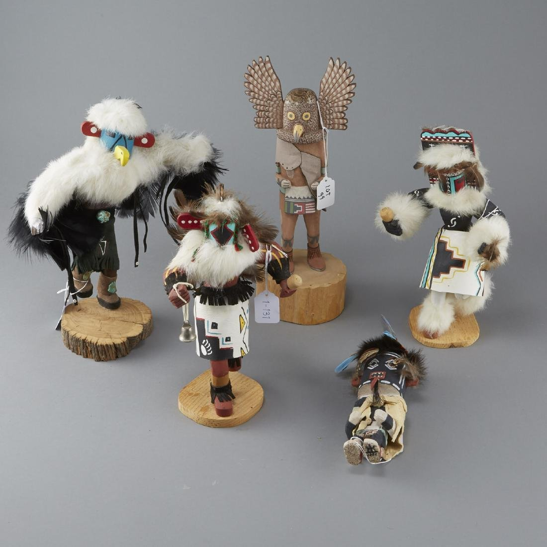 5 Kachina Figures Eagle, Chasing Star, Sio Hemis
