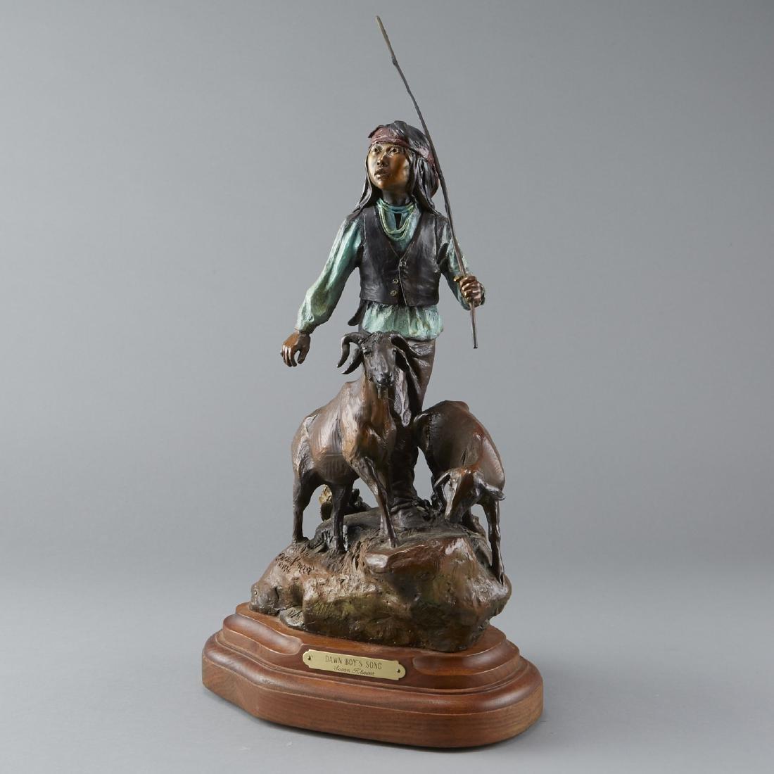 Susan Kliewer Bronze of a Boy with a Goats