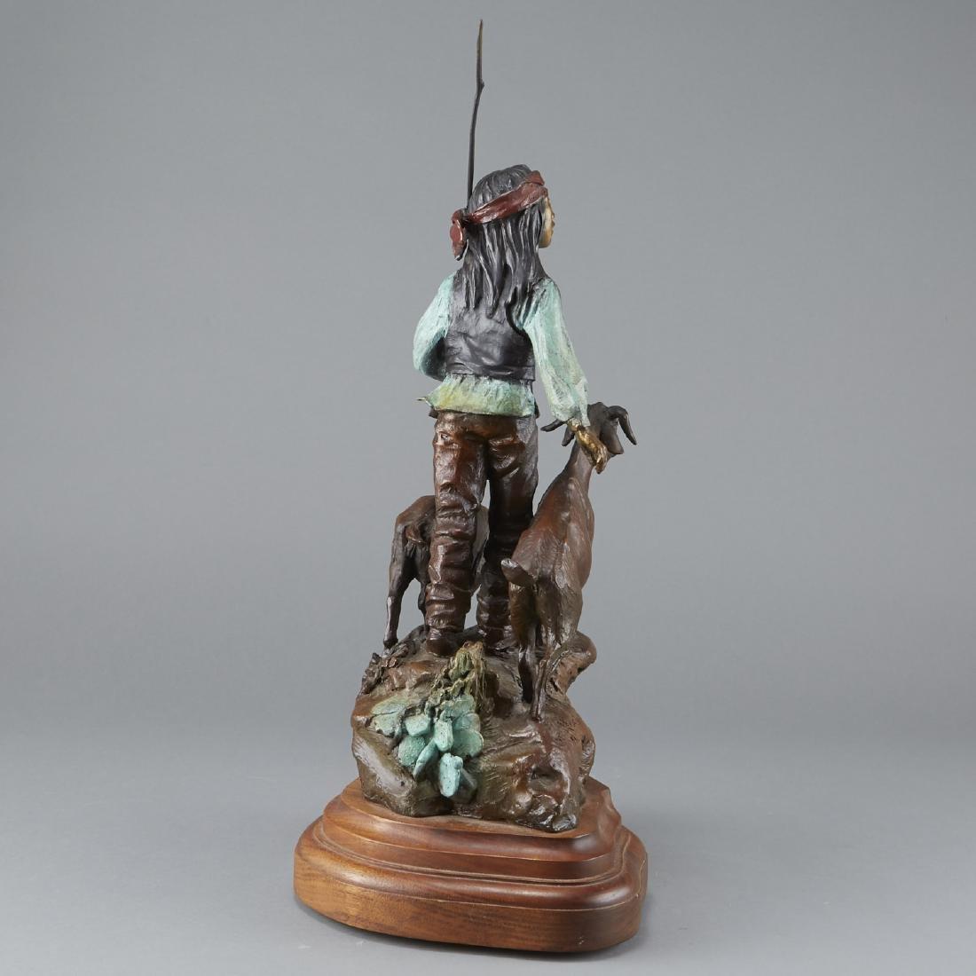 Susan Kliewer Bronze of a Boy with a Goats - 3