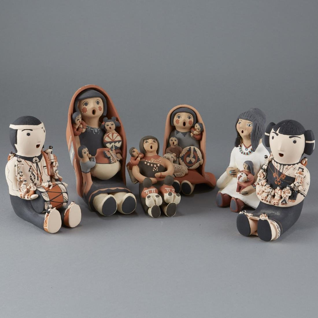 6 Ceramic Pieces Groups of Native American Women