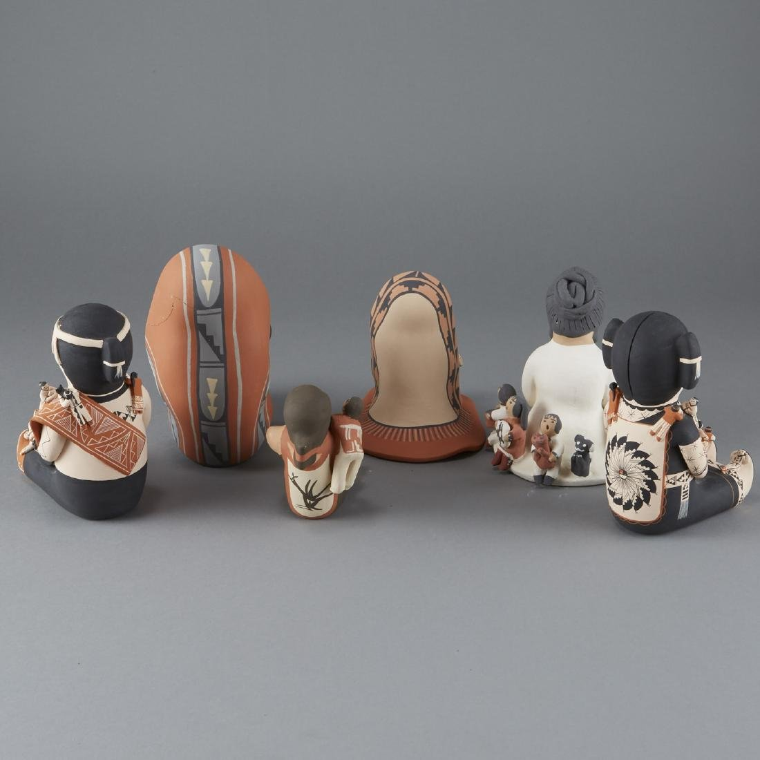 6 Ceramic Pieces Groups of Native American Women - 2