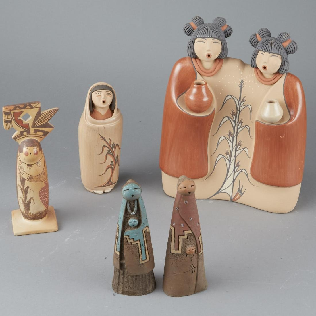 5 Native American Ceramic Woman Figures