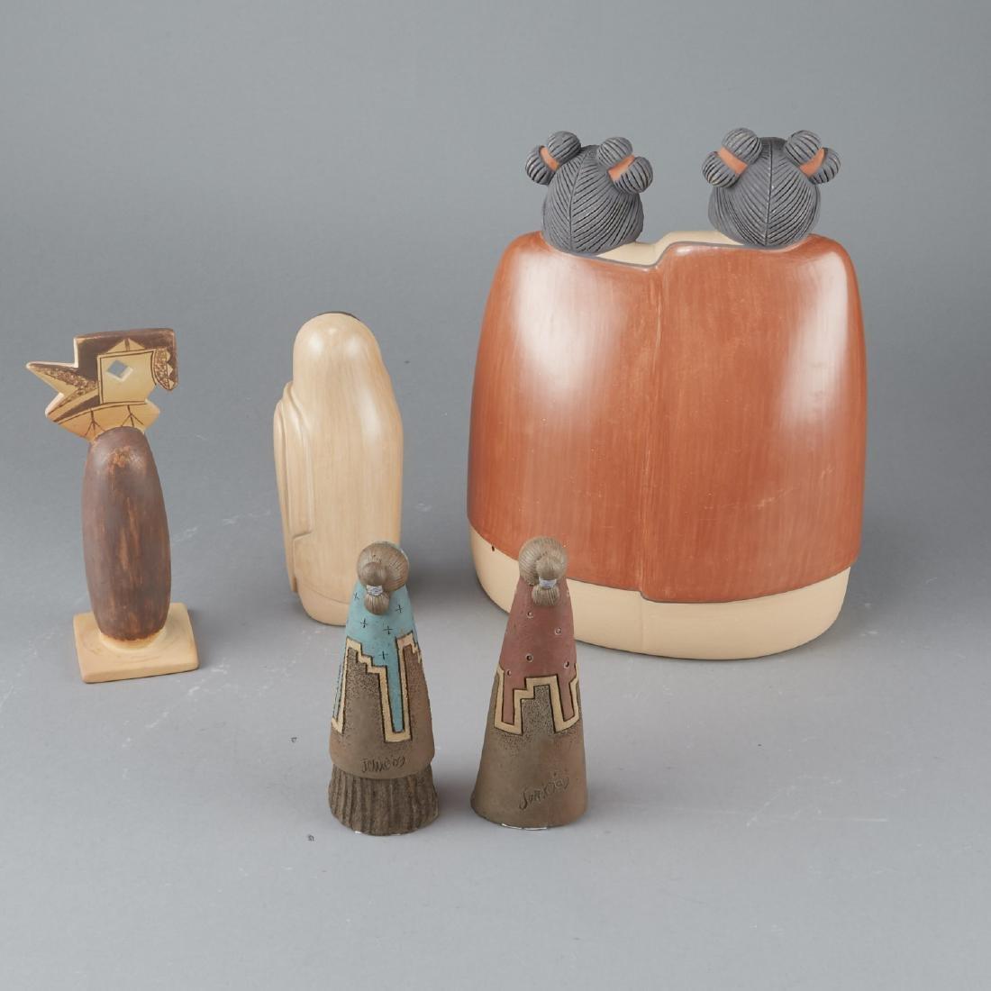 5 Native American Ceramic Woman Figures - 2