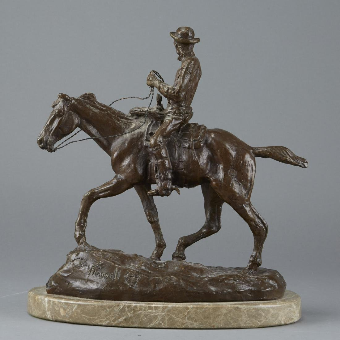 Equestrian Sculpture After Charles Russell - 3