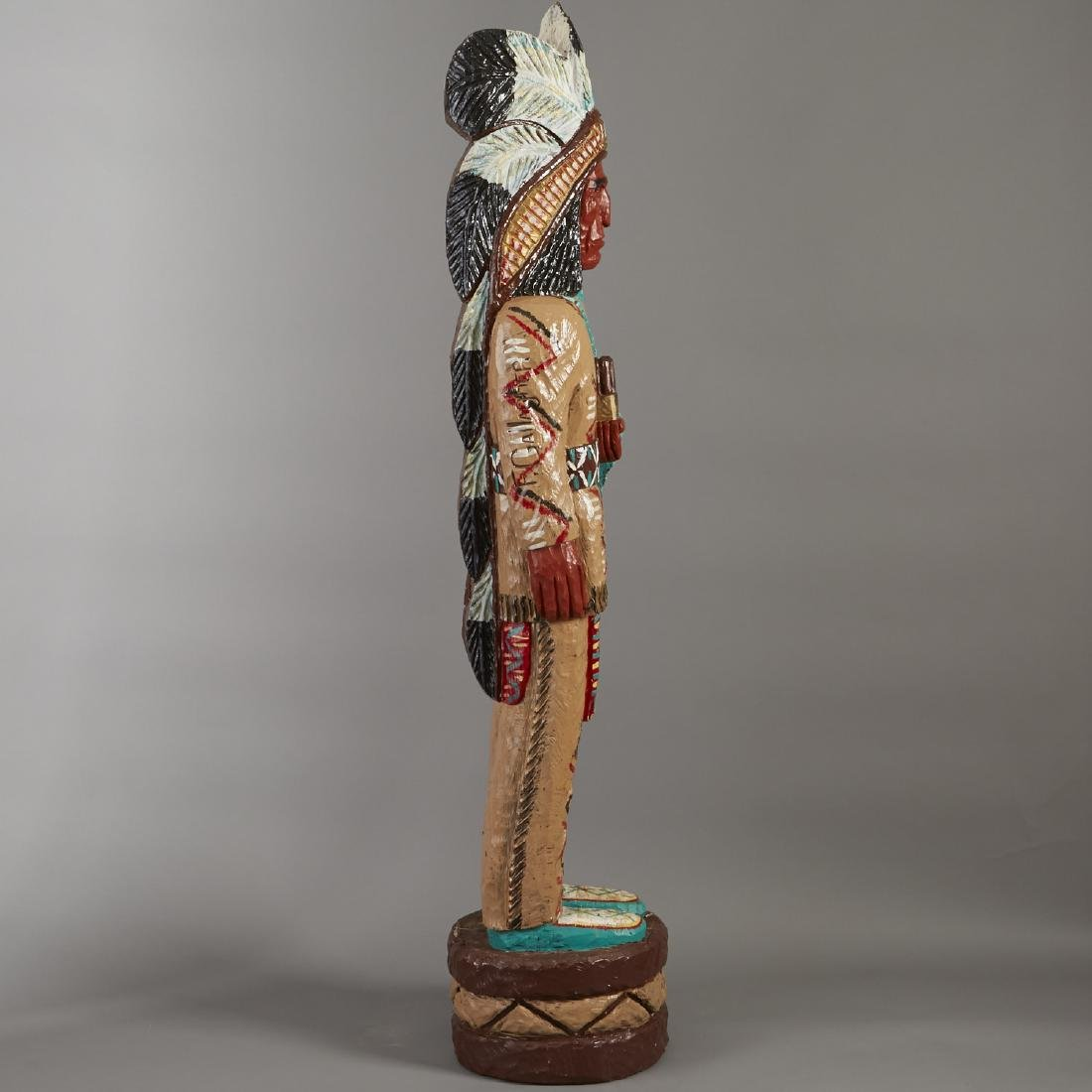 Carved Wood Cigar Store Indian Statue - 3