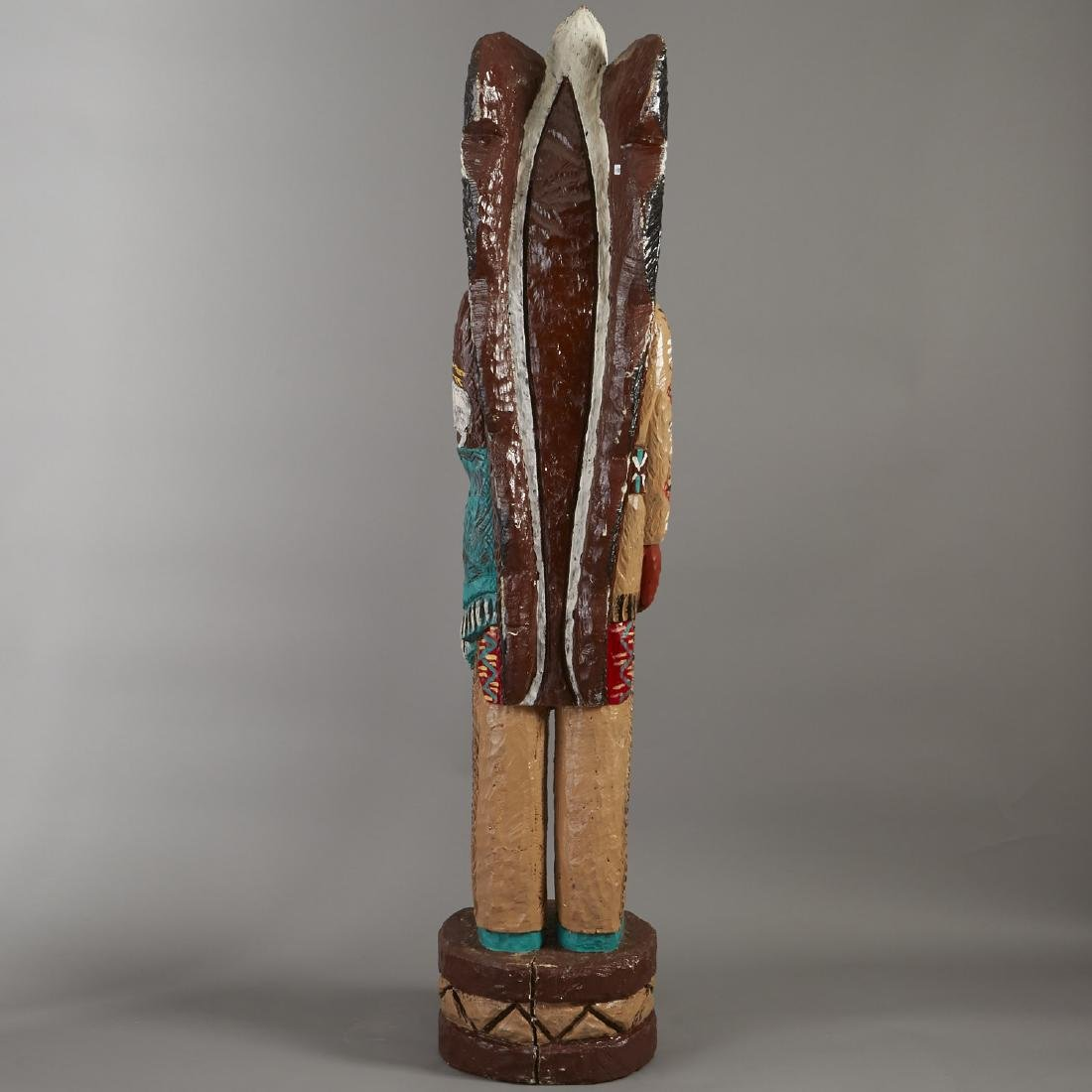 Carved Wood Cigar Store Indian Statue - 4