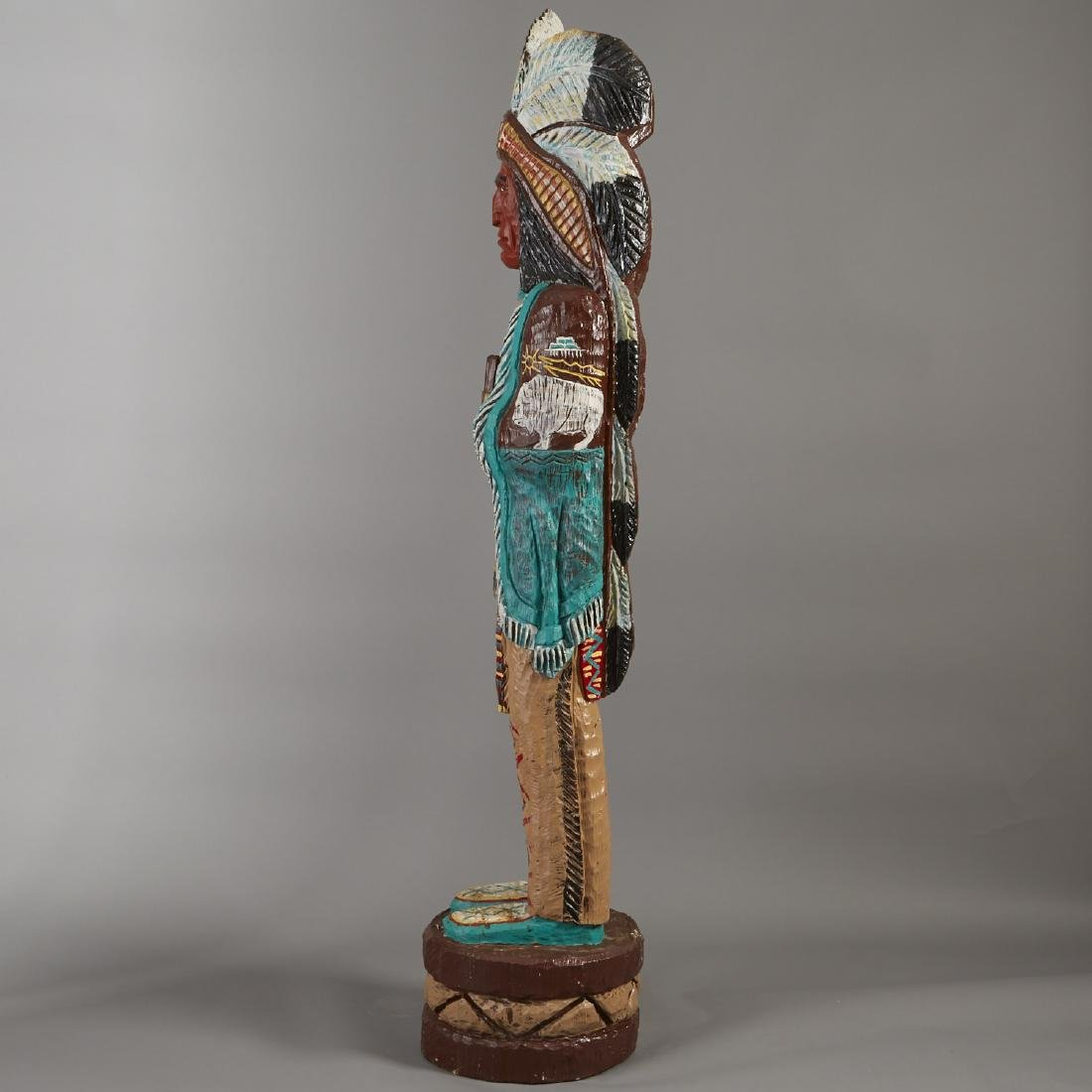 Carved Wood Cigar Store Indian Statue - 5