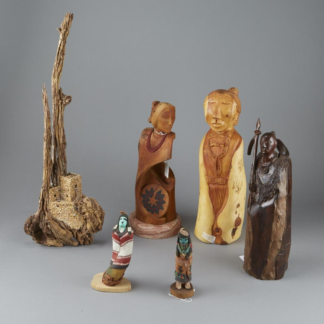6 Carved Wood Sculptures Native American Pueblo