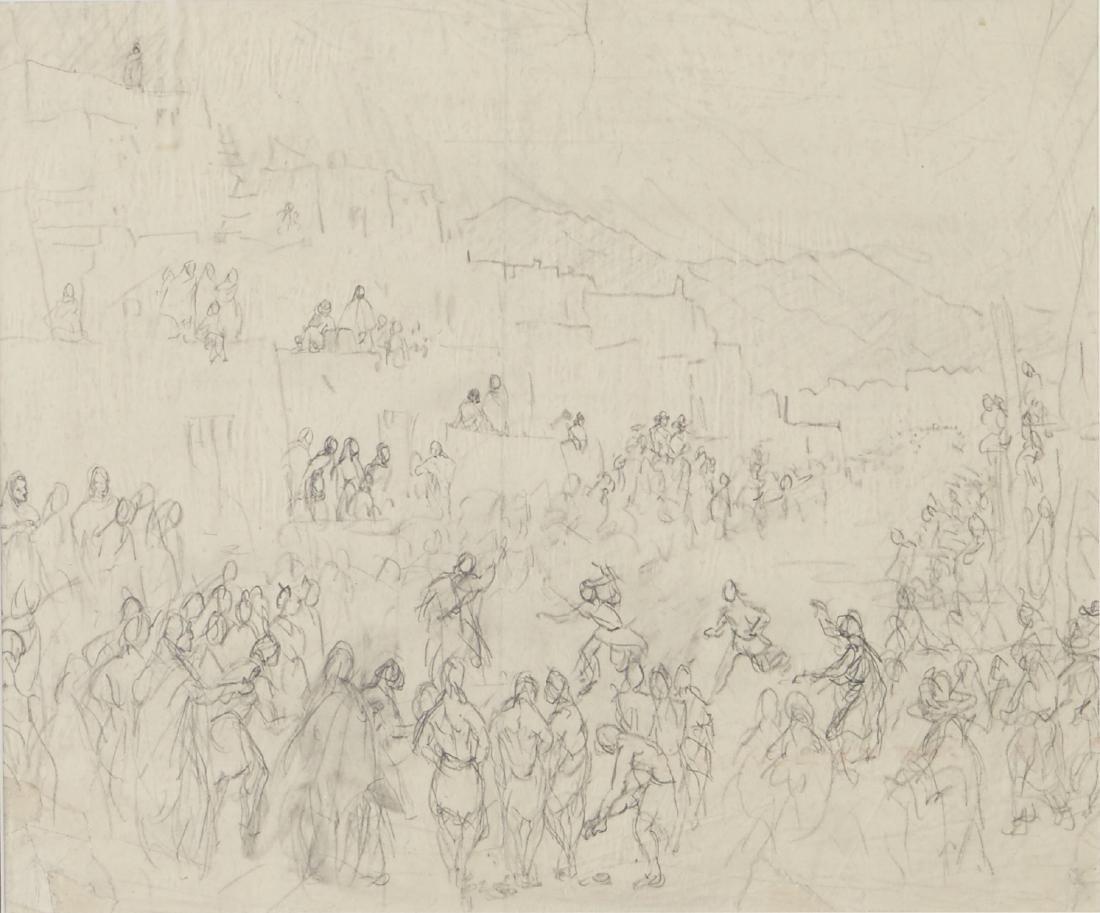 Graphite Study Taos Pueblo Feast of San Geronimo