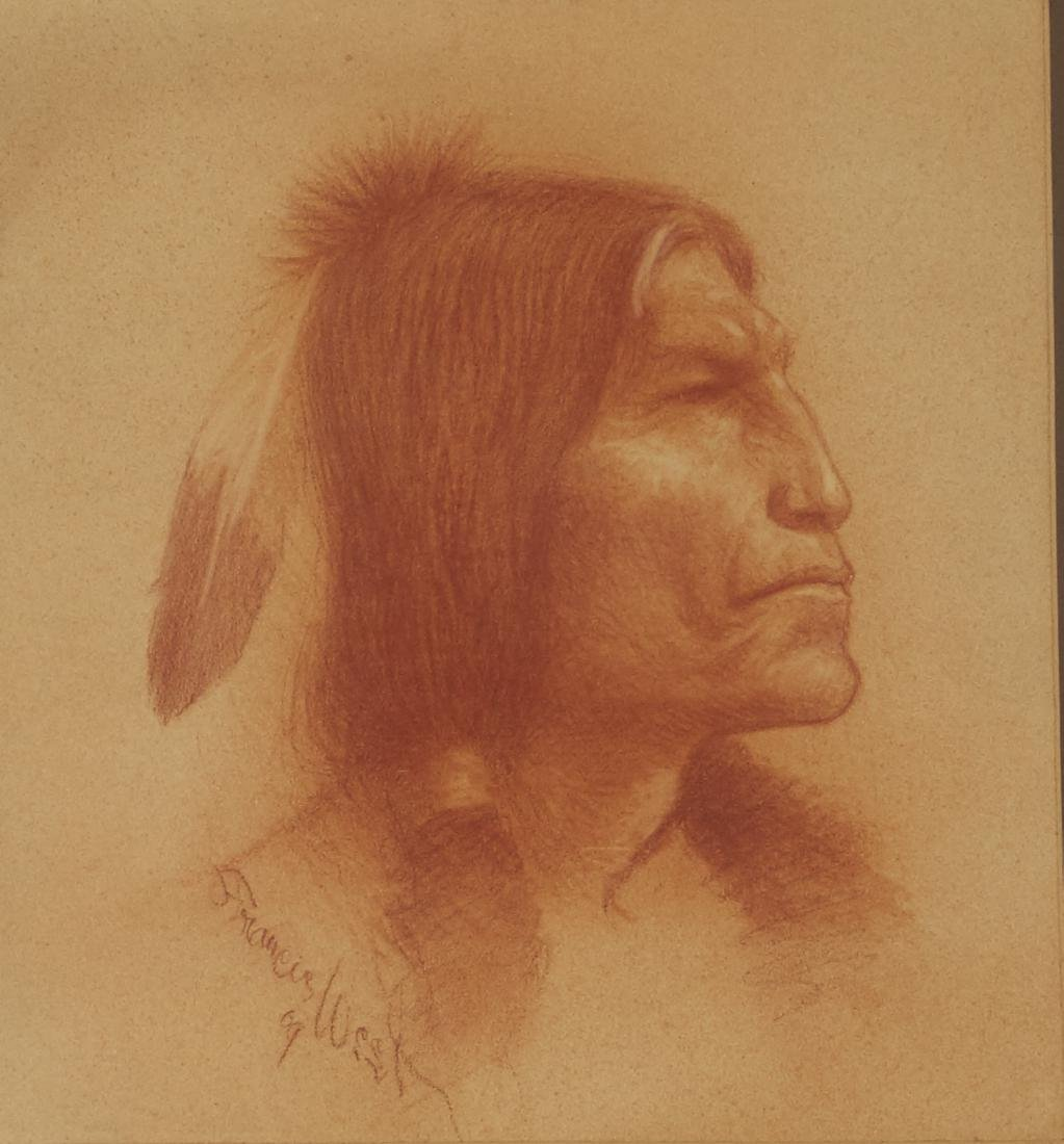 Francis West Drawing Native American Portrait