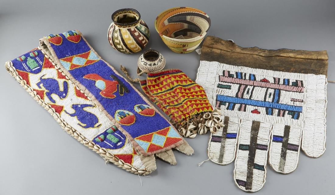 4 African Beadwork Objects Zulu Baskets