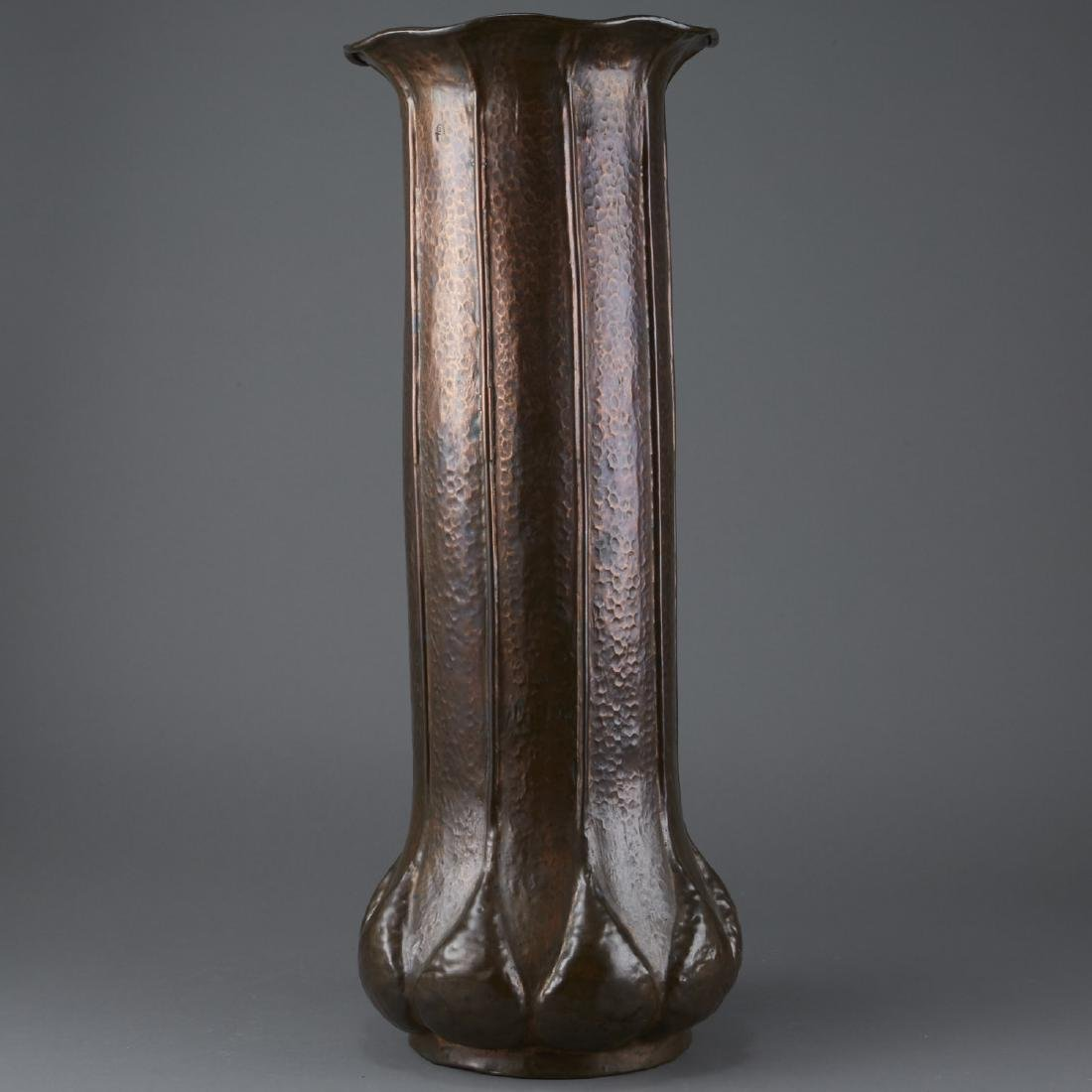 Hammered Copper Arts and Crafts Umbrella Stand - 4