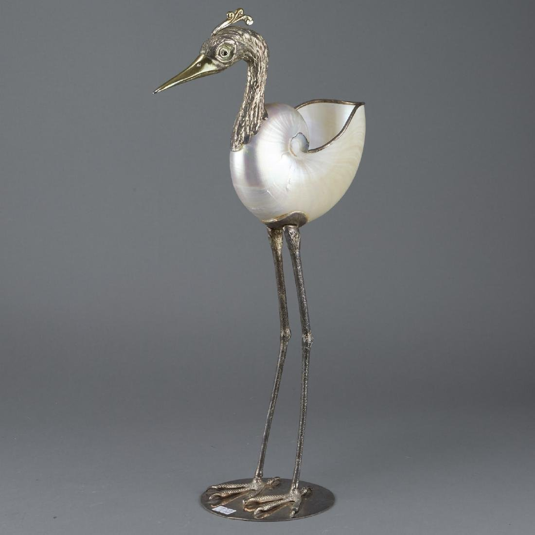Binazzi Italian Silver and Nautilus Shell Egret
