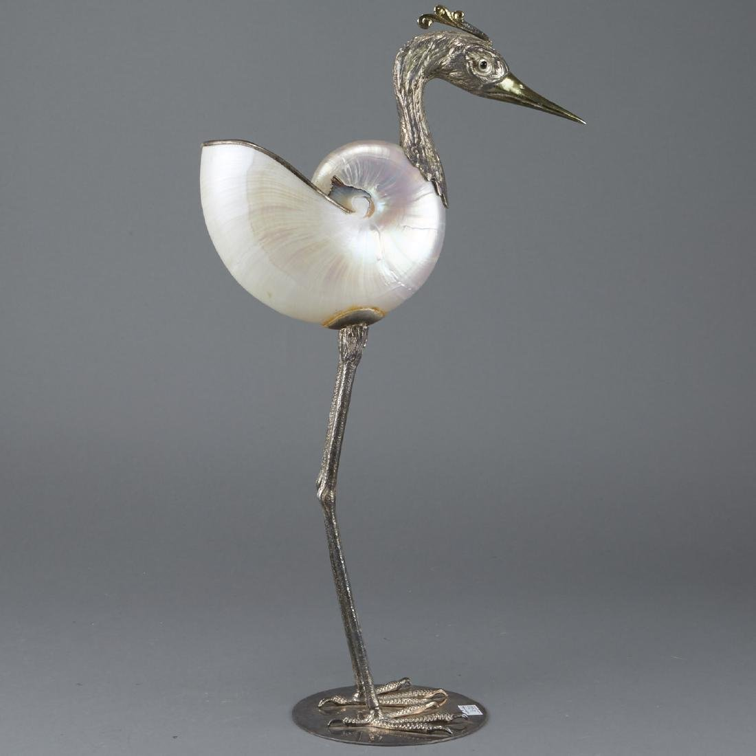 Binazzi Italian Silver and Nautilus Shell Egret - 3