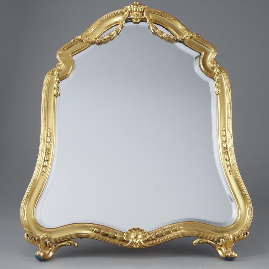 Aucoc of Paris Silver Gilt Table Mirror