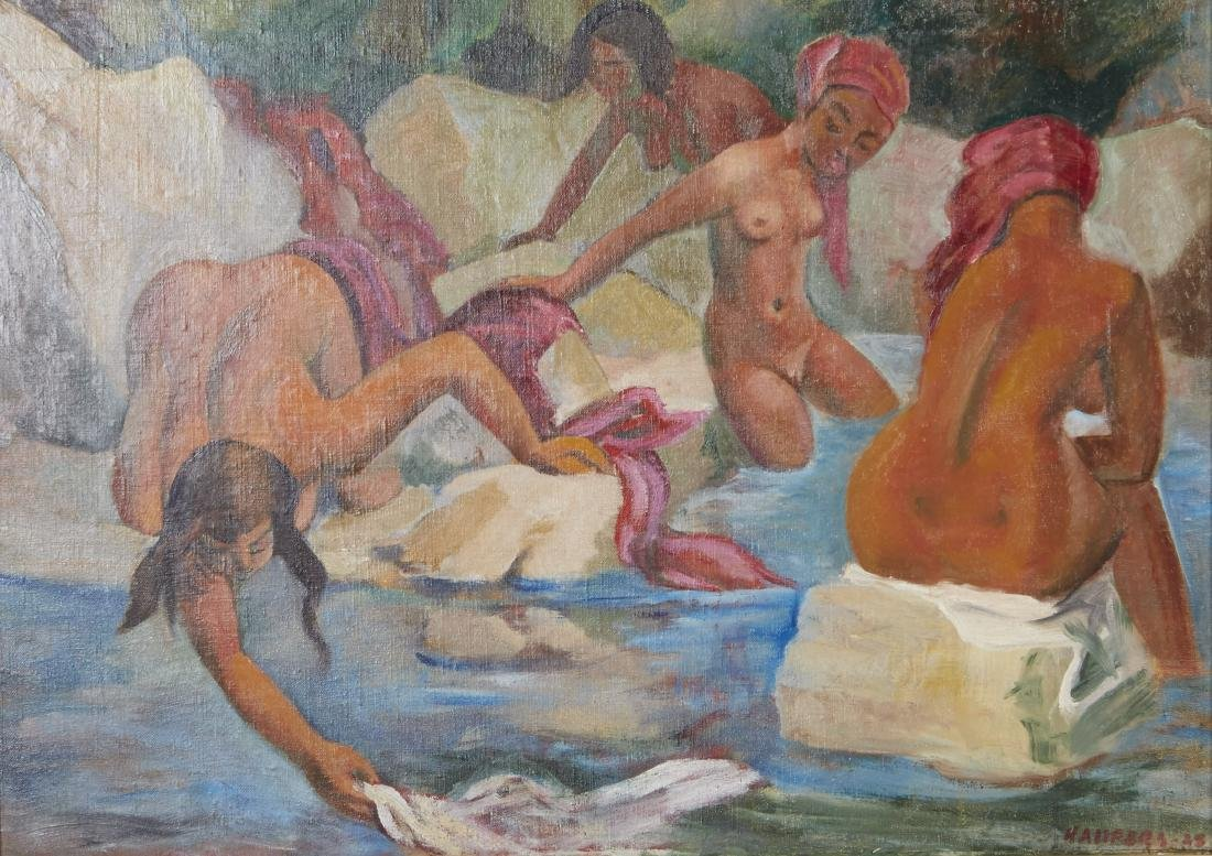 Clement Haupers Oil Painting Nude Bathers