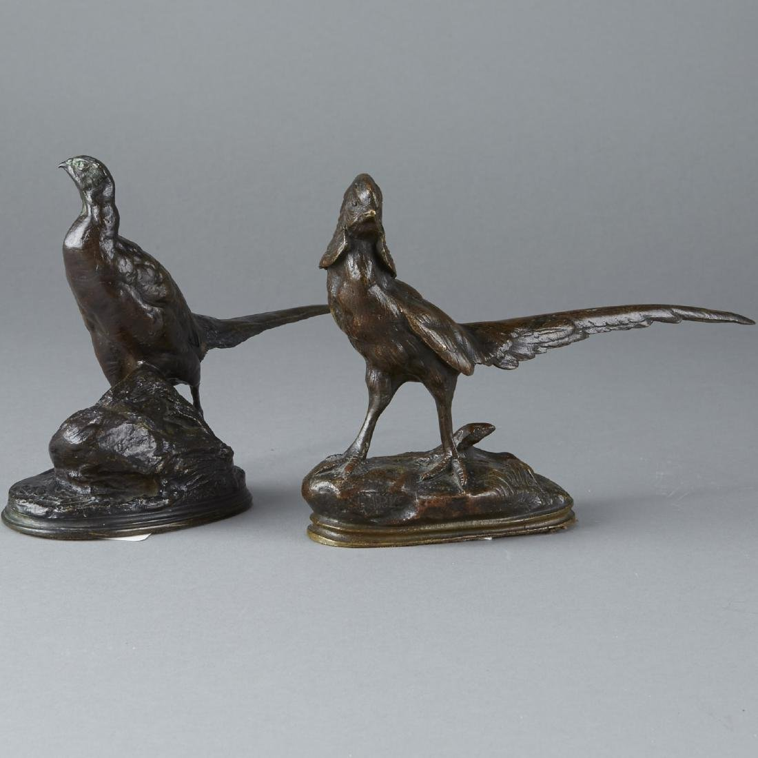 Pair of Barye Bronze Pheasants