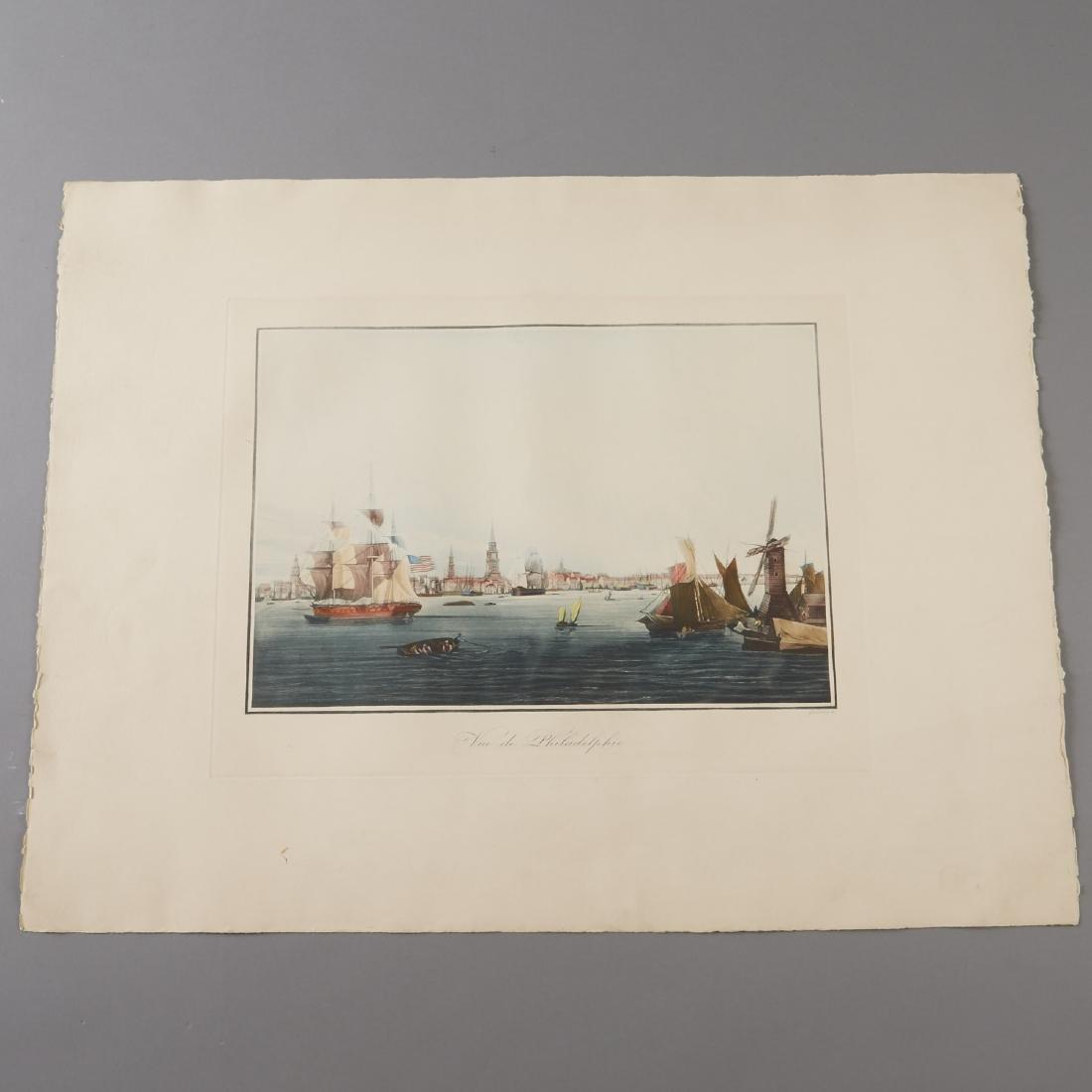 Louis Le Breton Vue de Philadelphie Aquatint