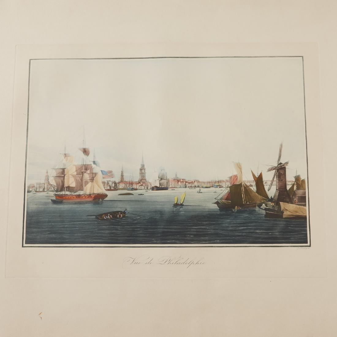 Louis Le Breton Vue de Philadelphie Aquatint - 2