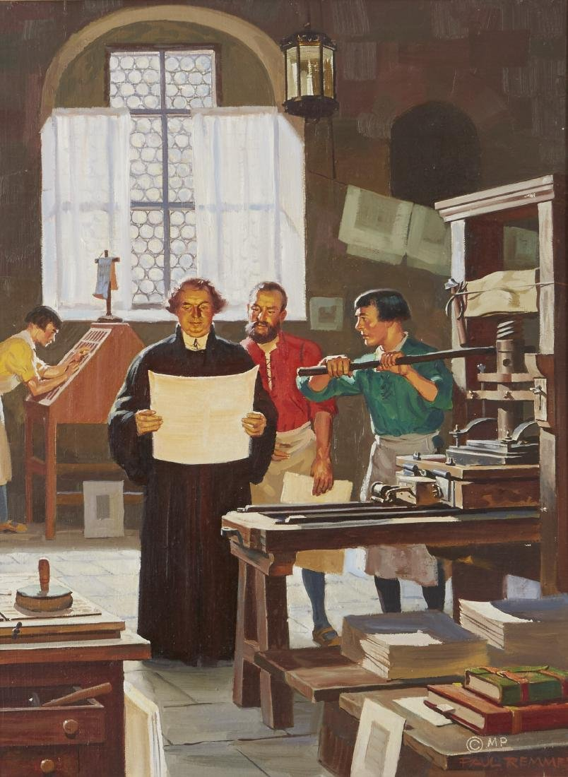 Paul Remmey Luther and His Printer Oil Painting