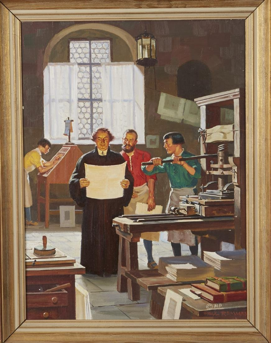 Paul Remmey Luther and His Printer Oil Painting - 2