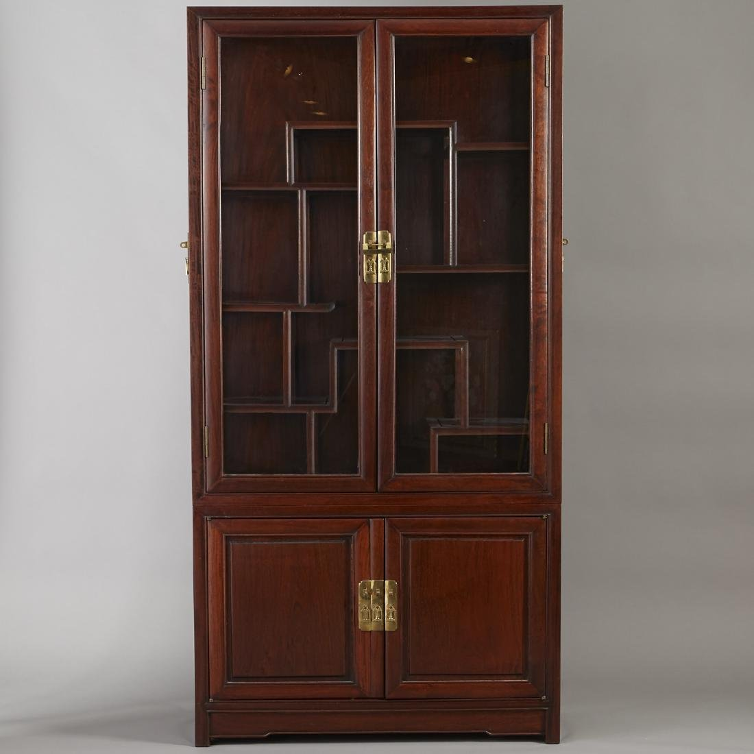 Large Chinese Teak Display Cabinet