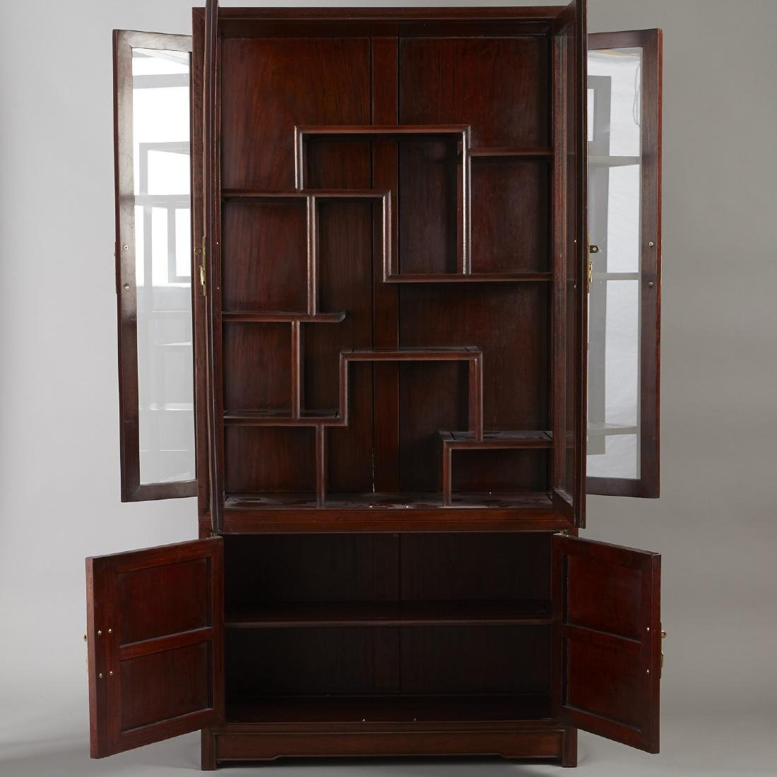 Large Chinese Teak Display Cabinet - 2